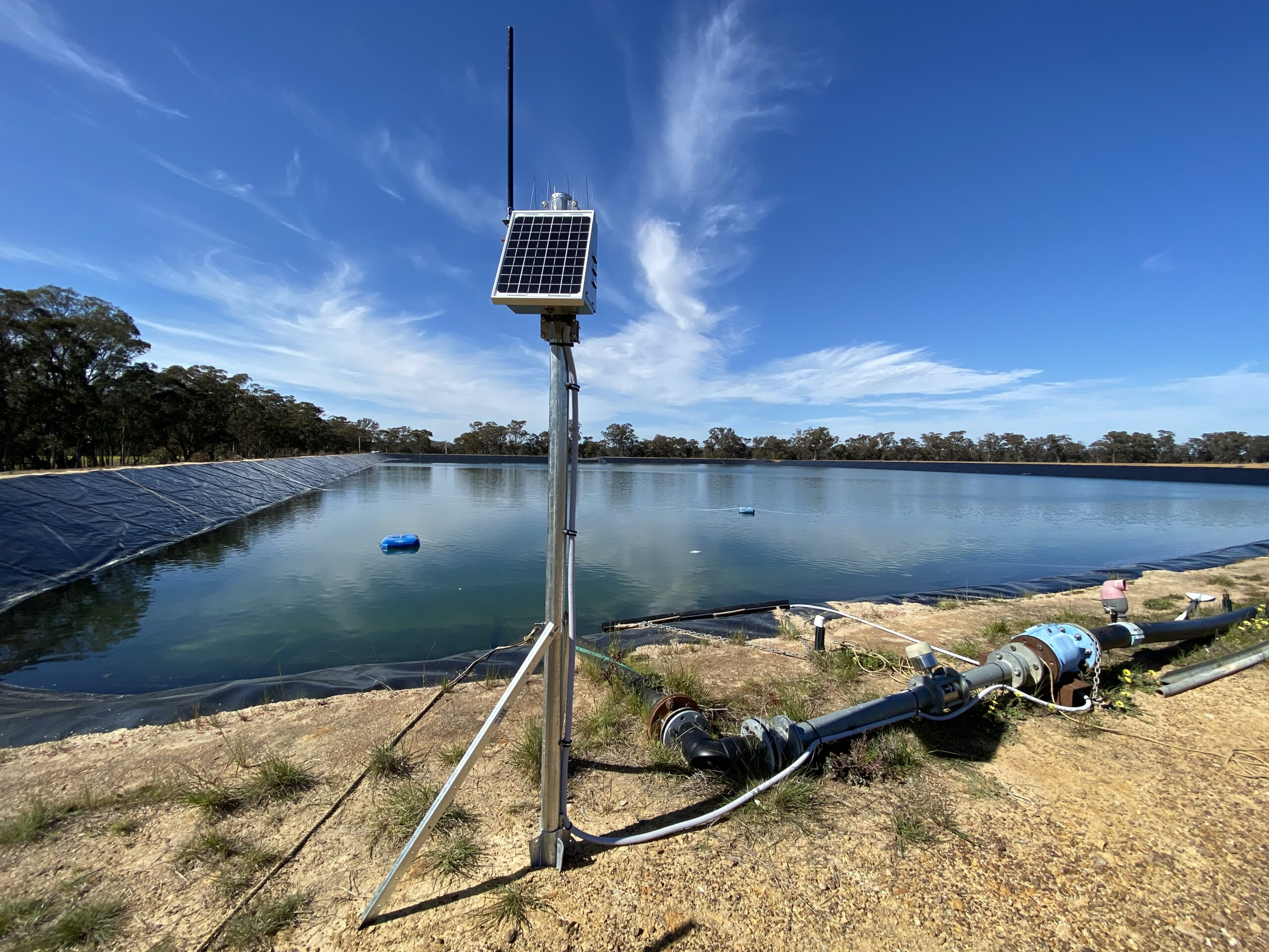 RipTide R1-001 mounted with Solar Option Monitoring Dam at Gold Mine